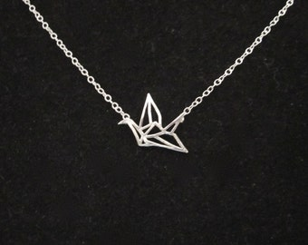 Small ORIGAMI CRANE BIRD sterling silver delicate necklace, minimalistic jewelry