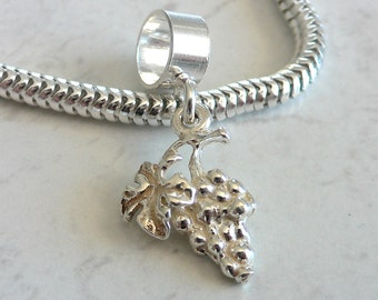 BUNCH of WINE GRAPES Sterling Silver Charm Fits All Slide On Bracelets