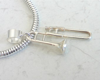LARGE TROMBONE Sterling Silver MUSIC Brass Instrument Charm Fits All Slide On Bracelets