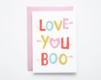 Love You Boo Card with envelope Valentine's Day card arrows pink type