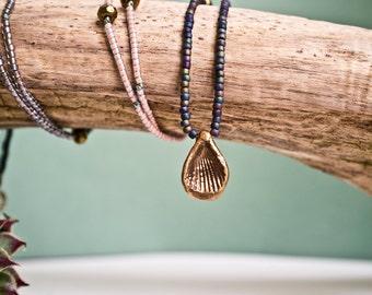 Beaded Layering Necklace, Seashell Pendant, Boho Necklace, Minimalist, Extra long, Statement Jewelry, Matte Jewel Tones, Simple Tribal