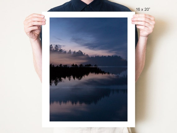 Maine forest landscape double exposure photograph, Mount Desert Island lake fine art photography, ethereal blue art, Acadia National Park