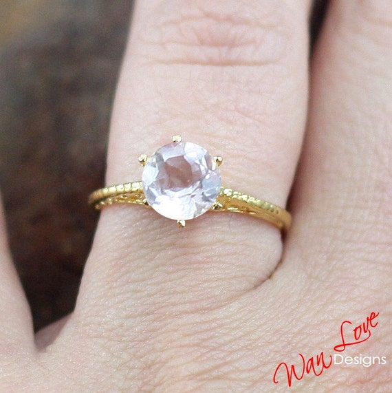 Morganite Solitaire Antique style filigree ring white-yellow-rose gold-Custom made your size-Wedding-Engagement-Anniversary-Layaway Platinum