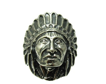R001356 STERLING SILVER Ring Solid 925 Indian Chief