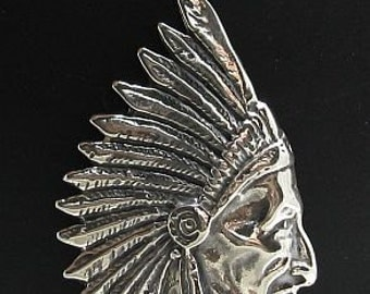 PE000681 Sterling silver pendant  solid 925 Chief Chieftain