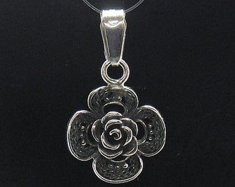 PE000533  Sterling silver pendant  charm flower 925 solid