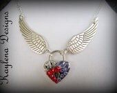 Angle Winged heart lock, Choker, Padlock, Flying Heart, Necklace,  Lock and Key