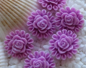 Resin Flower Cabochon - Rose Circled - 13mm  - 25 pcs - Orchid