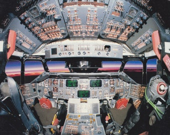 Columbia Challenger Montage- 1980s Vintage Card- Space Shuttle Flight Deck- 1985 NASA Memorabilia- Paper Ephemera- Unused