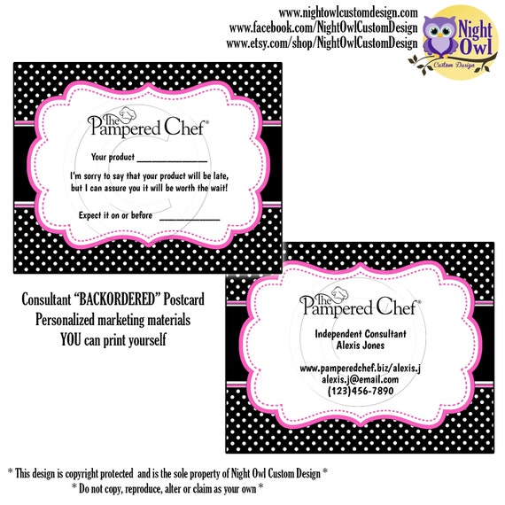 Items similar to Pampered Chef Consultant postcard - customer ...