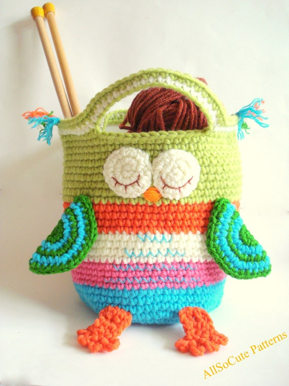 Crochet Owl Basket : Storage Basket Storage Bin Large Crochet Basket Crochet Owl Basket ...