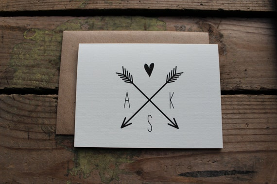 Wedding Thank You Cards with Envelopes / Initials and Arrow Logo / Chic / Rustic / Classic Stationery / Set of 10