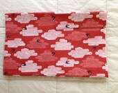 Cut Out & Keep organic fabric by Cloud 9 red clouds birds 1/2 yd