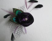 Peacock Wedding Fascinator, Purple Rose Bridal Head Piece, Purple Wedding Hair Flower, Birdcage Veil, Purple Hair Clip, Hair Accessory