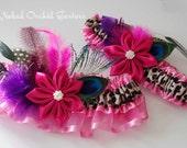 Pink Wedding Garter, Leopard Cheetah Garter, Peacock Garter, Pink Kanzashi Flower Garter, Kitschy Feather Garter, Art Deco Pink Prom Garter