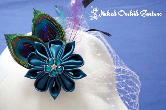 Peacock Hair Clip Wedding Fascinator, Teal Kanzashi Bridal Hair Clip, BIRDCAGE VEIL, Head Piece, Teal Wedding Hair Flower, Fairy Wedding