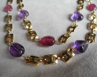 Pink Tourmaline and Amethyst necklace with gold anchor chain