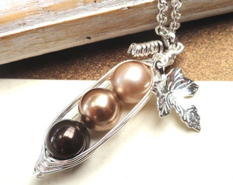 Peas In A Pod Necklace  -   Shades Of Brown