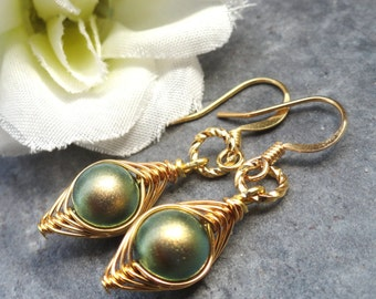 Peas in a pod, Pea pod earrings, one pea in a pod earrings, gold pea pod earrings, mothers earrings