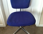 Mid Century Modern Knoll International Max Pearson Blue Swivel Rolling Desk Chair PICK UP ONLY