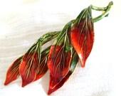 Vintage LEAF CLUSTER BROOCH pin enameled Autumn colors