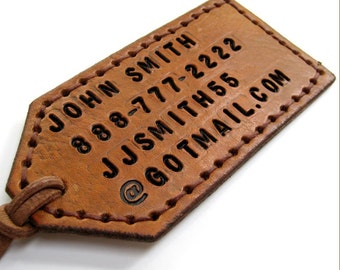 Two Sided Personalized Luggage Tag Tan Brown Leather Custom Luggage Tag Bespoke Travel