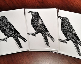 RAVEN Cards - 3 Hand Printed Linocuts on Premium Heavy Weight Paper (With Envelopes)