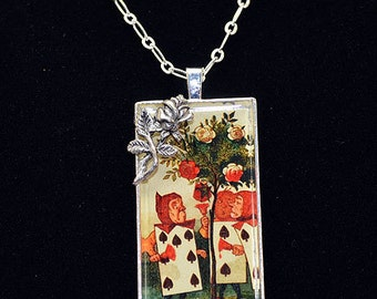 """Alice in Wonderland Resin Pendant - """"Painting the Roses Red"""""""
