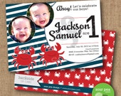 "Birthday Invitation - Custom DIY Printable Invitation - ""Twin Crabs"""