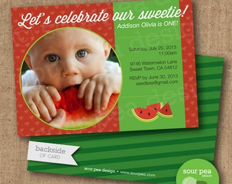 "Birthday Invitation - Custom DIY Printable Invitation - ""Watermelon Sweetie"""