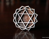 Hand Carved Indian Wood Block Stamp- Heart Chakra