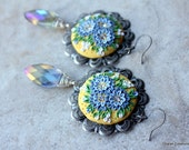 Gorgeous Floral Clay Applique Earrings in Yellow, Gray and Green with Czech Glass Marquise