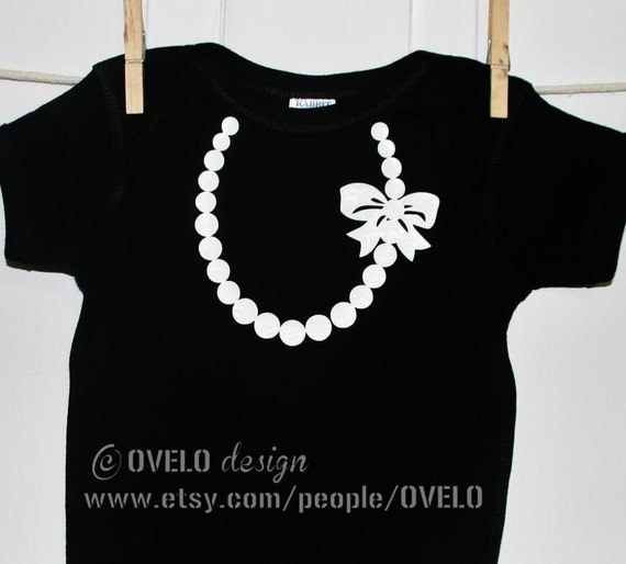 The Carrie Pearl Necklace with Bow on Black Onesie with White Pearls and Bow Breakfast at Tiffany's