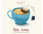 Relax, it's Teatime - sketch digitally coloured - Art Print - kitchen art - Tea