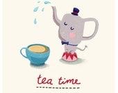 Circus elephant pours tea - sketch digitally coloured - Art Print - kitchen art
