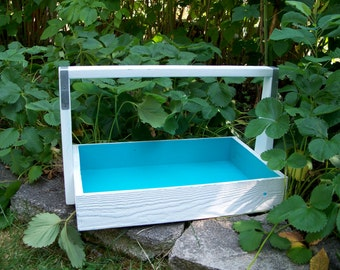 Colorful Wooden Tote, Wedding Card Box, Aqua and White Painted Berry Flat, Harvest Basket, Organizer