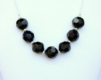 Black Chunky Statement Necklace. Black and Silver Beaded Necklace