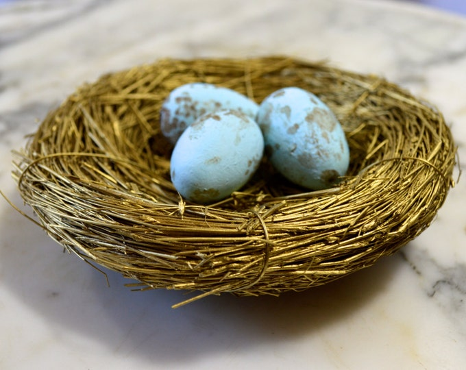 Golden Birds Nest, complete with 3 Hand Painted Robin's Eggs, Natural Woodland Decor