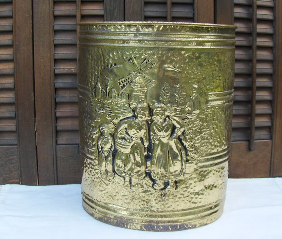 Vintage Brass Waste Basket Paper Bin Garbage By