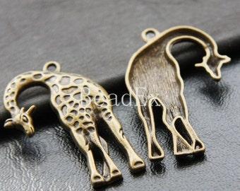 4pcs / Giraffe / Pendant / Antique Brass Tone / Base Metal / Charms (YB15387//E71)