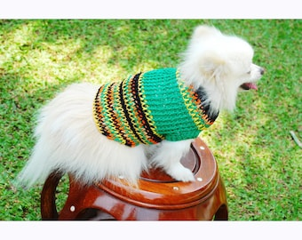Bohemian Dog Sweater Rasta Dog Clothes Striped Chihuahua Custom Puppy Clothing Hand Knitted by Myknitt  DK844 Free Shipping