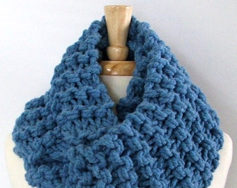 Ready to Ship - Chunky Knit Sky Blue Long Infinity Cowl Scarf