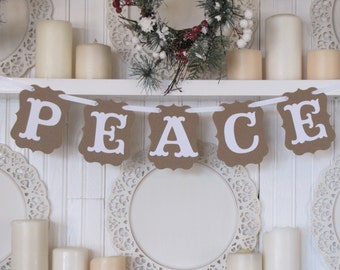 PEACE Banner, Christmas Sign, Tree decoration, Religious Christmas, Christmas Decoration, Peace Sign