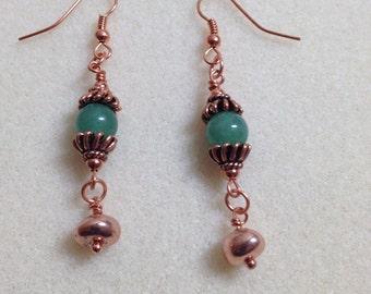 Green Aventurine & copper earrings