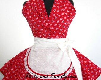 Retro Pin Up I Love Lucy Costume Apron with Valentine Day Hearts