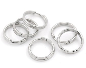 Split Rings : 100 Antique Silver Double Loop Split Open Jump Rings 8mm Diameter - Lead, Nickel, & Cadmium free Jewelry Finding 8x1.5P