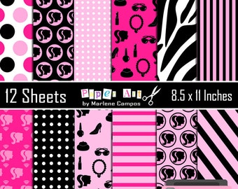 40% OFF - All Dolled Up digital papers, Barbie digital papers Inspired, Ladies, Fashion Girls, embellishment | INSTANT DOWNLOAD