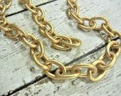 ONE Foot Heavy Cable Chain - MATTE GOLD Finish Chain 11.3 mm x 8.52 mm Links - Price is for One Foot (12 Inches)- Brass Base- Jewelry Making
