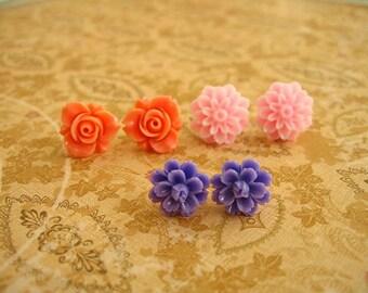 Orange Pink Purple Resin Flower Earrings, Resin Earrings, Resin Cabochons, Cabochons Earrings, Flower Earrings, Rose Earrings - 3 Pairs