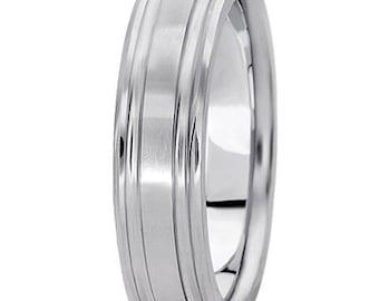 6mm Fingerprint engraving Ring  14k white gold  Wedding Band  UM301-6